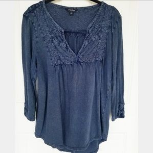 Lucky Brand stone wash blue top size large